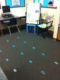 2nd Grade Classroom inspired by #CTP  Letters on the floor for student to know where to sit.