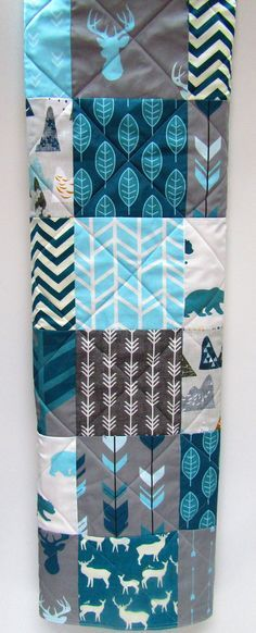 Rustic Baby Boy Quilt-Blue Woodland by NowandThenQuilts on Etsy