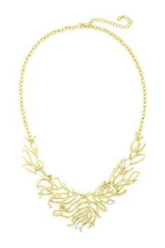 Golden Eve Leaf Drop Bib Necklace