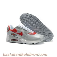 Chaussures Nike Air Max 90 Rouge / Argent / Blanc Air Max Homme