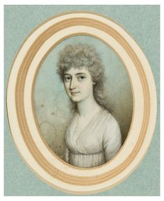 "Thomas Hazlehurst (1740 – 1821). Portrait miniature of Elizabeth Bridges Knight wearing a white dress with a blue ribbon tied under corsage. Watercolor on ivory, oval. 2 1/2 x 2 inches (6.5 x 5 cm). Initialed ""T.H."" (lower right). A fine portrait miniature of Jane Austen's sister in law, Elizabeth Bridges (1773-1808) who married Edward Austen, the brother of Jane Austen. Edward took the name of his second cousin Mr. Knight on inheriting in 1812 his estates in Kent at Godmersham Park."