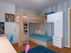 Projekt aranżacji pokoju dla chłopca i dziewczynki w wieku szkolnym. Meble - projekt własny.
