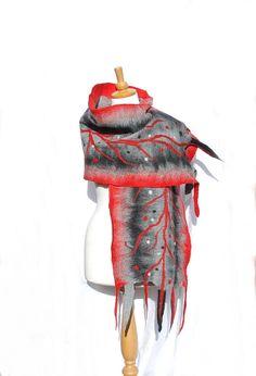 Felted scarf felt scarf merino wool wrap shawl felted by AnnaWegg, £44.99