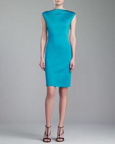 St. John Collection Sateen Milano Dress, Teal - Neiman Marcus