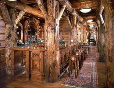 Incredibly rustic bar area in log home gameroom. Montana/Idaho Log Homes, Victor, Montana Pub Design, Cabin Design, House Design, Rustic Design, Log Cabin Living, Log Cabin Homes, Log Cabins, Mountain Cabins, Mountain Pass
