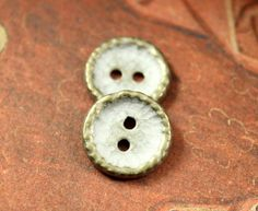 Hammered Surface Metal Buttons , Brass Patina Color , 2 Holes , 0.59 inch , 10 pcs by Lyanwood, $5.00