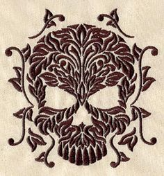 Embroidery Designs at Urban Threads - Damask Skull