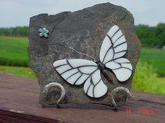 Mosaic butterfly on slate