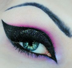 Black, pink and purple eyeshadow  #smokey #dark #glitter #bold #eye #makeup #eyes