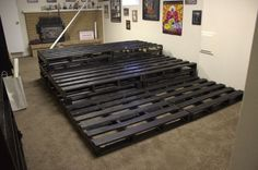 Theater Room Stadium Seating using Pallets by valarie