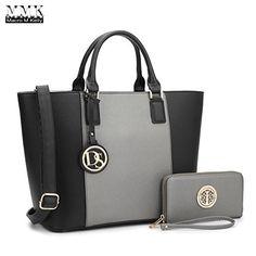 Dasein Women s Top Handle Structured Two Tone Tote Bag Satchel Handbag  Shoulder Bag With Shoulder Strap Silver Black) 7c93b49056