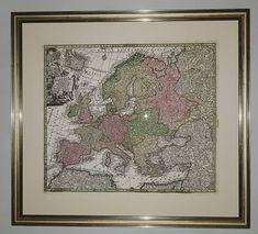Antique Map of Europe, 1740, in gold leaf frame. #antiqueprints#antiqueprint#mapmakers# Europe, Gold Leaf, Icon Design, Frame, Vintage World Maps, Furniture Design, Icons, Antique, Retro