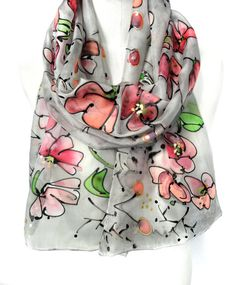 Gray Scarf. Hand Painted Silk Scarf. Floral Pink by TeresaMare