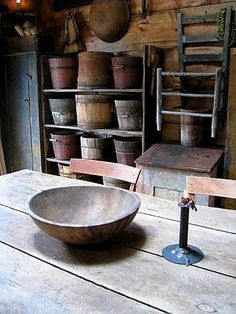 Luv old wood bowls and buckets! Primitive Kitchen, Primitive Antiques, Primitive Decor, Primitive Homes, Country Primitive, Prim Decor, Country Decor, Rustic Decor, Antique Decor