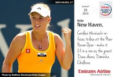 """Today's postcard reads: """"Caroline Wozniacki refuses to lose at the New Haven Open - make it 20 in a row as the great Dane downs Dominika Cibulkova."""""""