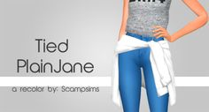 """scampsims: """" Tied PlainJane """"hey an actual thumbnail you can see!!!! I love this tied shirt by @tamo-sim and i just wanted it in a few plain colors!! things ya need 2 know; """" • only three swatches: white, black, and gray :) • YOU NEED THE MESH by..."""