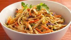 Recreate a Thai restaurant favorite with easy, short-cut ingredients, including deli rotisserie chicken and packaged broccoli slaw.