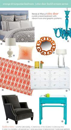 Orange & Turquoise Bedroom   Zinc Door build-a-room series    #zincdoor #designcenter #bedroom #orange #turquoise