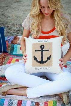 Nautical Anchor pillow by Rustic Living