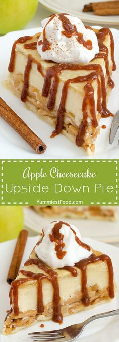 Apple Cheesecake Upside Down Pie - you won't believe how easy it is to make this pie, with only few ingredients! Very delicious and tasty! Apple Cheesecake Upside Down Pie, perfect combination with a (Apple Recipes Cookies) Apple Desserts, Fall Desserts, Apple Recipes, Just Desserts, Sweet Recipes, Delicious Desserts, Yummy Food, Health Desserts, Apple Cheesecake