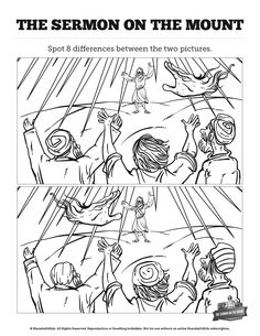 Sermon On the Mount (Beatitudes) Kids Spot The Difference: Think these two sermon on the mount illustrations are exactly the same? Well you might want to take a second look. Packed with the kind of creative challenges kids love, these printable Sunday school activity pages will make the perfect addition to your upcoming Matthew 5-7 lesson on the Beatitudes.