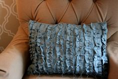 I think I need this ruffle pillow! {blue cotton canvas} #pillow