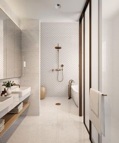 neutral bathroom bathroom, Great Minimalist Modern Bathroom Ideas - Home of Pondo - Home Design Contemporary Bathroom Designs, Bathroom Tile Designs, Bathroom Layout, Bathroom Interior Design, Small Bathroom, Bathroom Mirrors, Bathroom Cabinets, Dyi Bathroom, Serene Bathroom