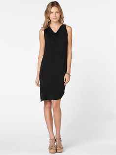 shirred asymmetric tank dress