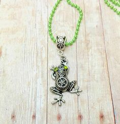 Steampunk Frog Necklace, Silver Frog Pendant Necklace, Green Ball Chain Necklace, Rhinestone Necklace, Frog Jewelry, Steampunk Jewelry, Gift