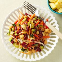 Chunky Vegetable Salad with Lemon-Cumin Vinaigrette #recipe