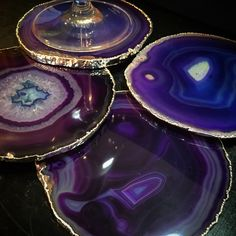 Purple Agate Slice Coasters with Silver Edge They are SHIP READY with Silver EDGES!!! Large enough for a wine glass!!!! Each Brazilian Agate is unique in shape and color with natural marbling, translu