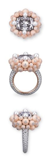 A COLOURED DIAMOND, DIAMOND, CORAL AND CULTURED PEARL RING, BY TAFFIN Set with a cushion-shaped fancy violet-grey diamond weighing approximately 5.64 carats, within a cluster of light pink coral bead surround, accented by four round white cultured pearls, to the pavé-set single-cut diamond hoop, mounted in platinum and 18k rose gold, ring size 5, in brown suede Taffin case Signed and with maker's mark for Taffin, No. TF3783