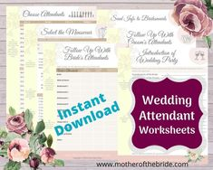 Wondering how to keep all your notes organized for your wedding attendants? Use these helpful worksheets to help you plan your every step. Perfect to print for use in your personal wedding planning folder. Wedding Planning On A Budget, Wedding Planning Timeline, Wedding Decorations On A Budget, Budget Wedding, Wedding Tips, Diy Wedding Notebook, Wedding Planner Binder, Wedding Planners, Wedding Checklist Printable