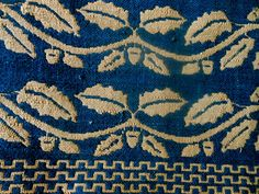 Antique Early Primitive Homespun Loom Woven Indigo Coverelt Border Piece Acorns   eBay, pia_threads