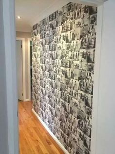 Black and white photo collage feature wall Photo Wall Art, Photo Wall Collage, Picture Wall, Photo Walls, Geometric Wall, Photo Displays, Stairways, My Dream Home, New Homes