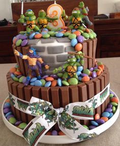 Turtle ninja Cake with kitkat and smarties