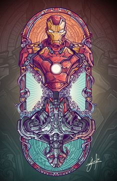 Iron Man/Ultron mirror vitral