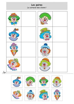 Les paires : le carnaval des clowns Plus Clown Crafts, Circus Crafts, Carnival Activities, Theme Carnaval, Visual Perception Activities, Es Der Clown, Free To Use Images, Circus Theme, Preschool Worksheets