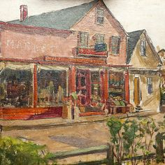 """Pauline Palmer (1867-1938) """"Main Street Providence Town"""" Oil Painting available on www.thehighboy.com at Kathleen Mack Antiques"""