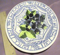 """Gien China Oiseau Bleu (Blackberry) 8.5"""" Salad / Desert Plate #GienOiseauBleu"""