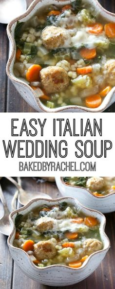 Easy slow cooker Italian wedding soup recipe from @bakedbyrachel A hearty dinner!