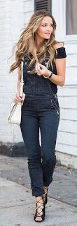 Navy Denim Jumper / Black Laced Up Pumps /white Leather Shoulder Bag.Bailey44 Double Fault Top Ruched seams lend a close fit to this sleeveless Bailey44 top. Cowl off-shoulder neckline. Double-layered. Black Trending Summer Spring Fashion Outfit to Try T
