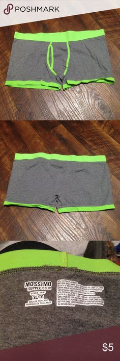 DONATED!! Cotton Stretch Boxer Briefs NWOT !!DONATED!! Mossimo brand cotton stretch boxer briefs, new without tags. Size XL. 95% cotton 5% spandex. Gray with neon green accents. Washed but never worn. This is the lowest I can go on an individual item. Bundle items for additional discounts! Mossimo Supply Co Underwear & Socks Boxer Briefs