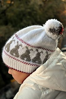 """Snow Bunnies"" hat knitting pattern by Hanna Maciejewska. Fair Isle knitting pattern."
