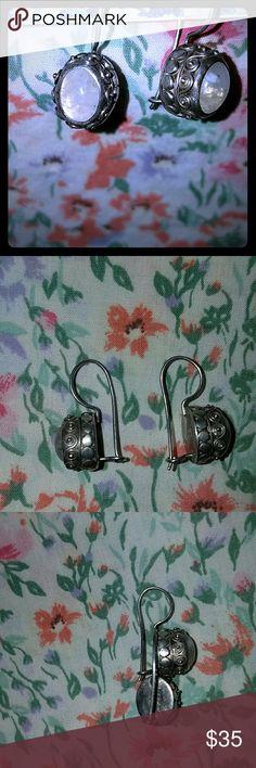 Moonstone Earrings Gorgeous Sajen 925 Sterling Silver Natural Moonstone Gemstone Drop Earrings 5.6g Jewelry Earrings