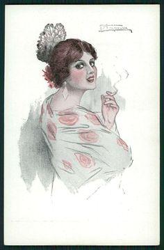art Gutierrez Spanish Lady Flamenco Dancer Hairdo original 1910s postcard a