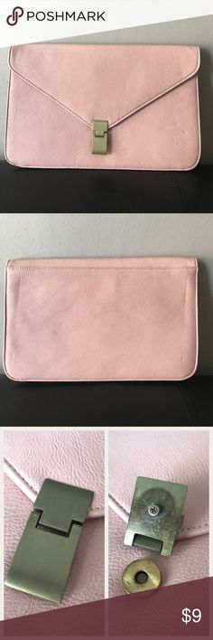 """Oversized Envelope Style Clutch Pre-loved (see pics for wear details). Made of 100% PU (faux) leather, polyester lined. Has magnetic closure with one of the magnetic rings missing however, it still locks. Measures 13"""" x 8.5"""" Forever 21 Bags Clutches & Wristlets"""