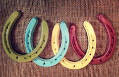 From etsy: Horseshoe is handpainted and gently distressed to add a warm pop of color to any room.  (I'm going to do this for yard art! )