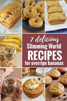 Fed up with overripe bananas sitting in your fruit bowl? Check out these 7 Delicious Slimming World Recipes To Make With Overripe Bananas. Slimming World Banana Cake, Slimming World Sweets, Slimming World Breakfast, Slimming World Recipes Syn Free, Slimming World Diet, Slimming Eats, Slimming World Flapjack, Ripe Banana Recipes Healthy, Healthy Recipes