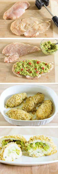 Guacamole Stuffed Chicken Breast - Crispy coated chicken stuffed with guacamole.